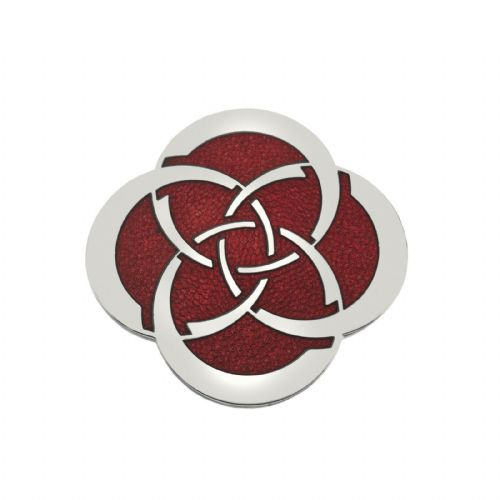 Celtic Slim Knot Brooch Silver Plated Red Brand New Gift Packaging